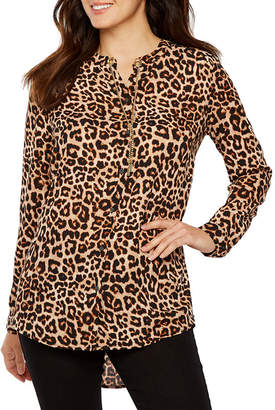 Bold Elements Womens Collar Neck Long Sleeve Woven Blouse