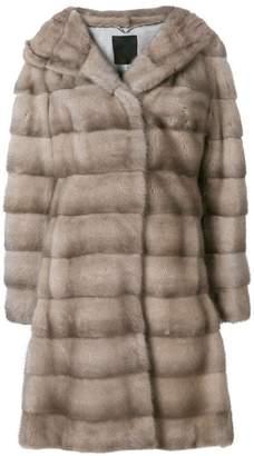 Liska Valencia hooded fur coat