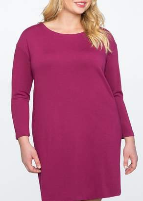 ELOQUII Knotted Back Easy Long Sleeve Dress (Plus Size)