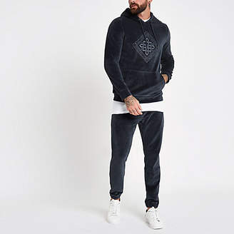 River Island Charcoal grey velour embroidered hoodie