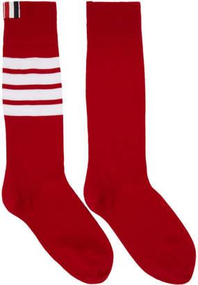 Thom Browne Red Ribbed Four Bar Socks