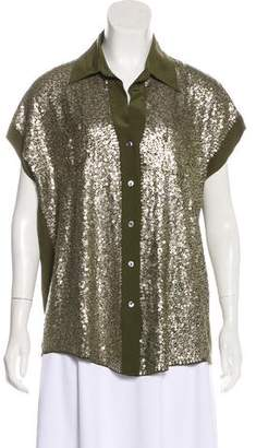 Elizabeth and James Sequin Button-Up Top