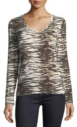 Neiman Marcus Majestic Paris for Long-Sleeve V-Neck Tiger-Print T-Shirt