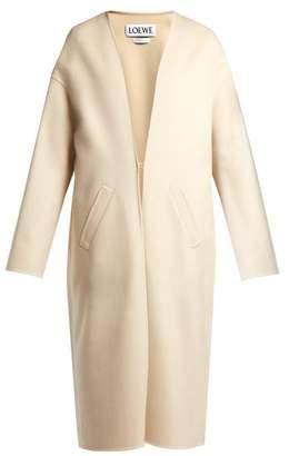 Loewe Collarless V Neck Coat - Womens - Ivory