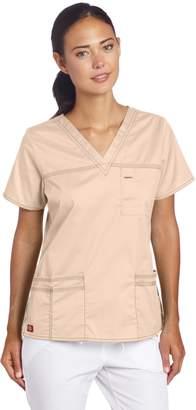 Dickies Women's Plus Size GenFlex Junior-Fit V-Neck Scrub Shirt