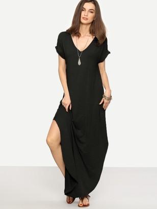 Shein Rolled Sleeve Split Curved Hem Tee Dress