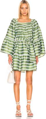 Lisa Marie Fernandez Mini Peasant Dress in Green & White Stripe | FWRD