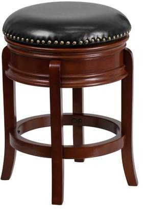 Flash Furniture 24'' Backless Light Cherry Wood Counter Height Stool with Black Leather Swivel Seat