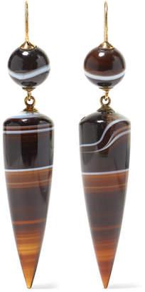 Fred Leighton - 1860s 15-karat Gold Agate Earrings