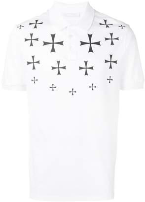 Neil Barrett cross print polo shirt