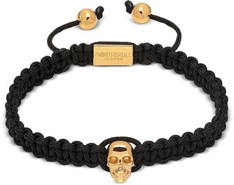 Northskull Atticus Skull Macrame Bracelet In Black And Yellow Gold