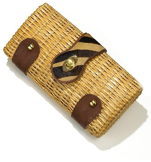 Adrienne Vittadini Wicker Clutch with Haircalf Trim