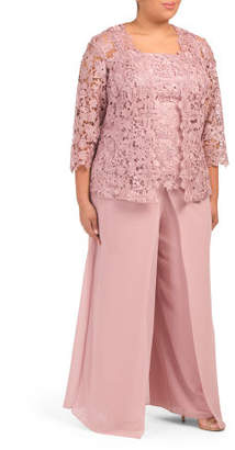 Plus 3pc Lace Pantsuit