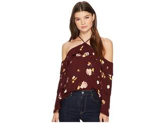 1 STATE 1.STATE Cold Shoulder Blouse w/ Tiered Sleeves Women's Blouse