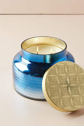 Anthropologie Giant Capri Blue Mercury Glass Candle