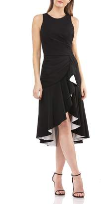 Carmen Marc Valvo High/Low Crepe Cocktail Dress