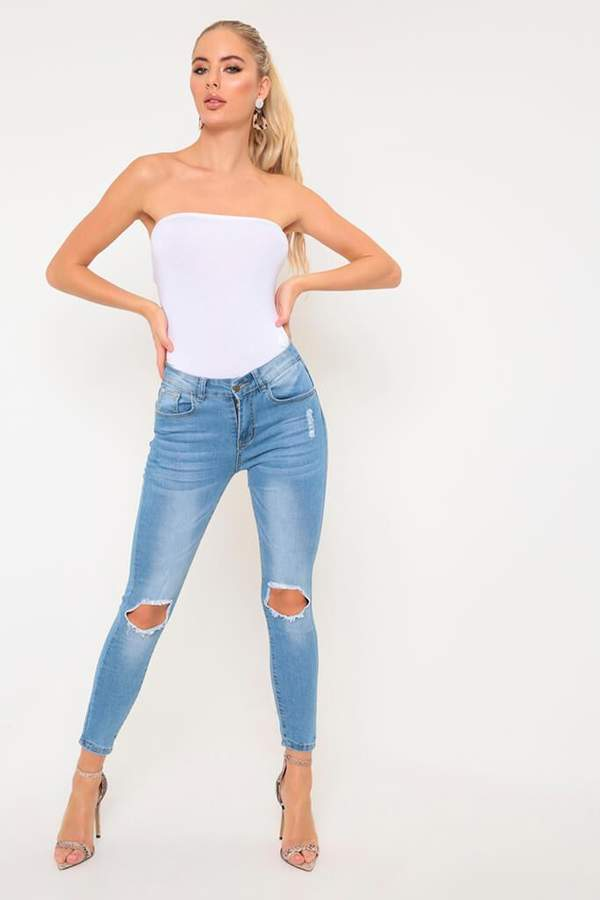 Isawitfirst Mid Wash Ripped Denim Jeans