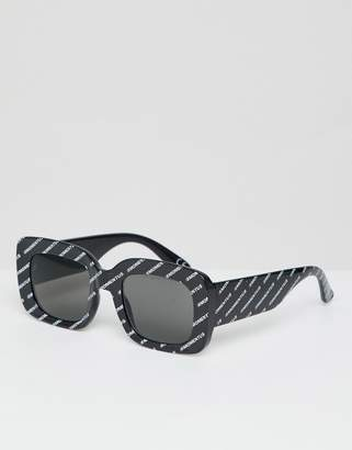 Asos DESIGN Chunky Rectangle Sunglasses In Monogram