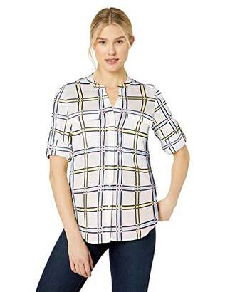944ad1ac66430c Calvin Klein Women s Printed Split Neck Roll Sleeve Blouse