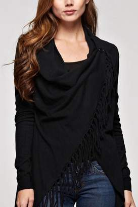 Love Stitch Lovestitch Fringed Wrap Cardigan