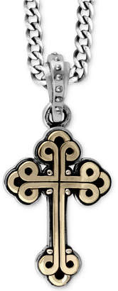 King Baby Studio Men Two-Tone Cross Pendant Necklace in Sterling Silver and Brass