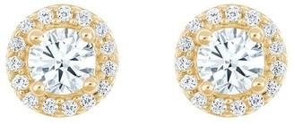 Affinity Diamond Jewelry Round Diamond Halo Earrings, 14K Yellow, 1/2 cttwby Affinity
