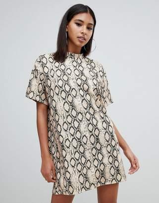 Missguided oversized t-shirt dress in snake print
