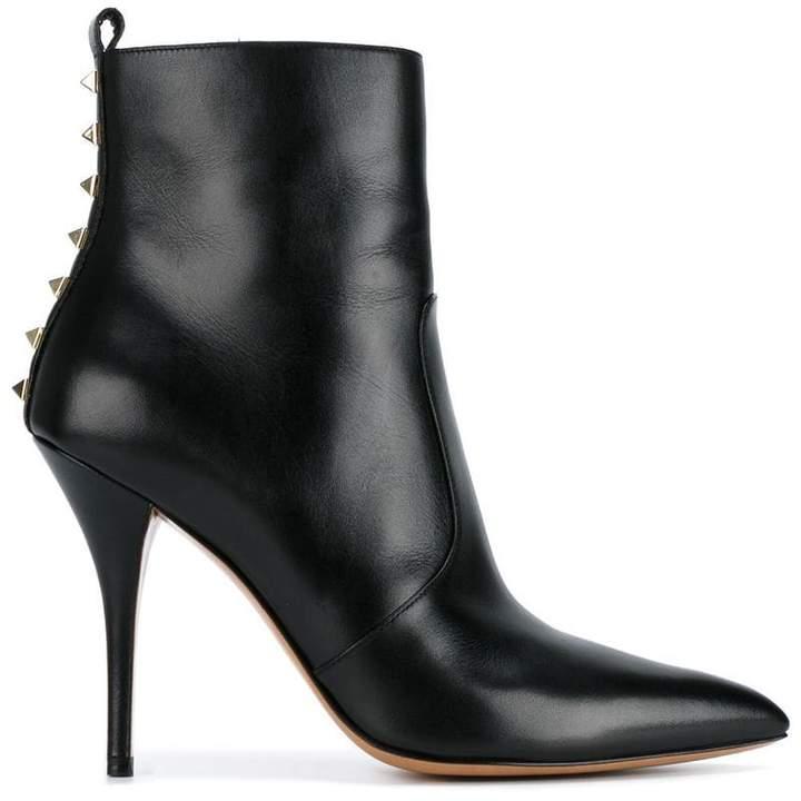 Valentino Black Leather Rockstud 110 ankle boots