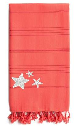 Linum HOME TEXTILES Coral Summer Fun Glittery Starfish Pestemal Beach Towel