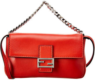 Fendi Red Nappa Leather Micro Baguette Bag
