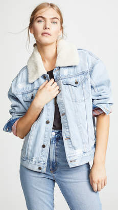 Free People Plaid Lined Sherpa Trucker Jacket