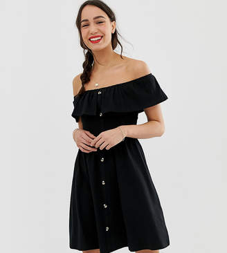 Asos Tall DESIGN Tall mini button through sundress with tiered skirt