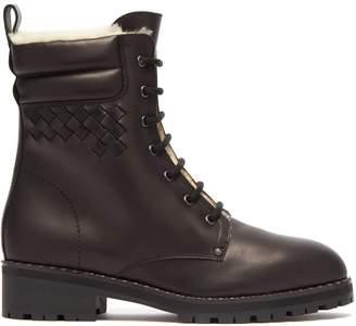 Bottega Veneta Shearling-lined leather combat boots