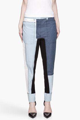 3.1 Phillip Lim Bule colorblocked Cut-Up Surf jeans