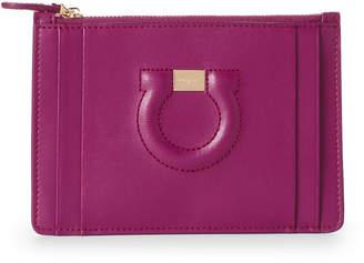 Salvatore Ferragamo Purple Gancio Leather Zip-Top Card Case