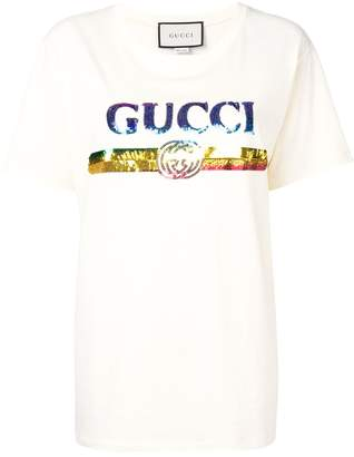 Gucci logo sequinned T-shirt