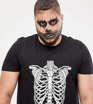 Asos DESIGN Plus halloween t-shirt with skeleton rib cage print