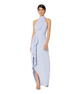 Halston Sleeveless Mock Neck Gown with Drape Front Detail