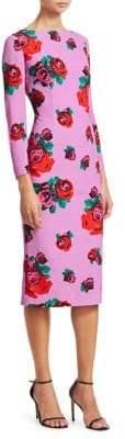 Lela Rose Textured Crepe Full Sleeve Pencil Dress