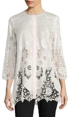 Elie Tahari Dillon Broderie Anglaise Blouse $348 thestylecure.com