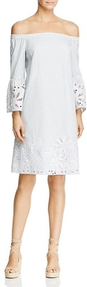 Lafayette 148 New York Palmira Off-the-Shoulder Embroidered Stripe Dress $598 thestylecure.com