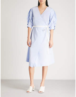 Mo&Co. Ruched-sleeve cotton-blend wrap dress