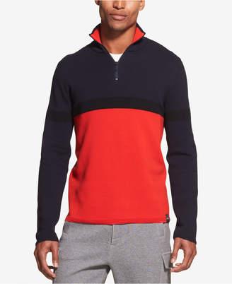 DKNY Men's Colorblocked Ottoman Stripe 1/4-Zip Logo Sweater