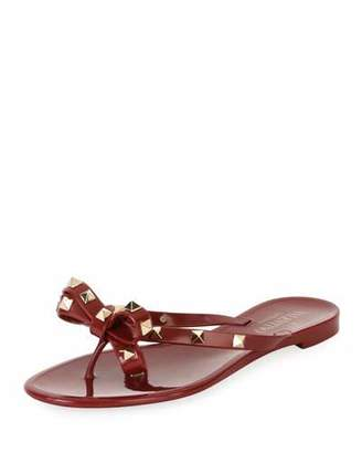 Valentino Jelly Rockstud Flat Thong Sandal, Dark Red $295 thestylecure.com