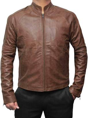 Richmond BlingSoul Mens Reacher Erect Collar Style Light Brown Leather Jacket. Leather Slim Fit Jacket | Brown, 2XL