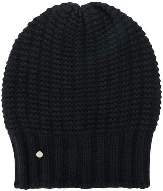 Emporio Armani logo cable-knit beanie hat