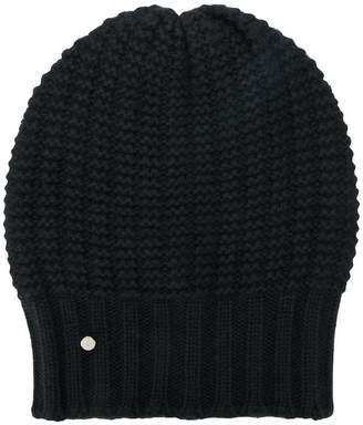 Emporio Armani (エンポリオ アルマーニ) - Emporio Armani logo cable-knit beanie hat