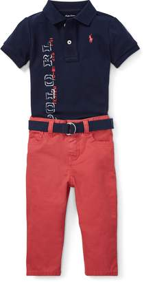 Ralph Lauren Mesh Polo, Belt & Jean Set