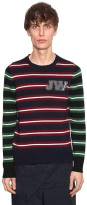 J.W.Anderson Logo Patch Striped Wool Sweater