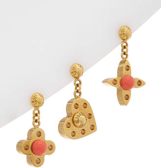 Louis Vuitton Gold-Tone & Orange Enamel Hide And Seek Earrings
